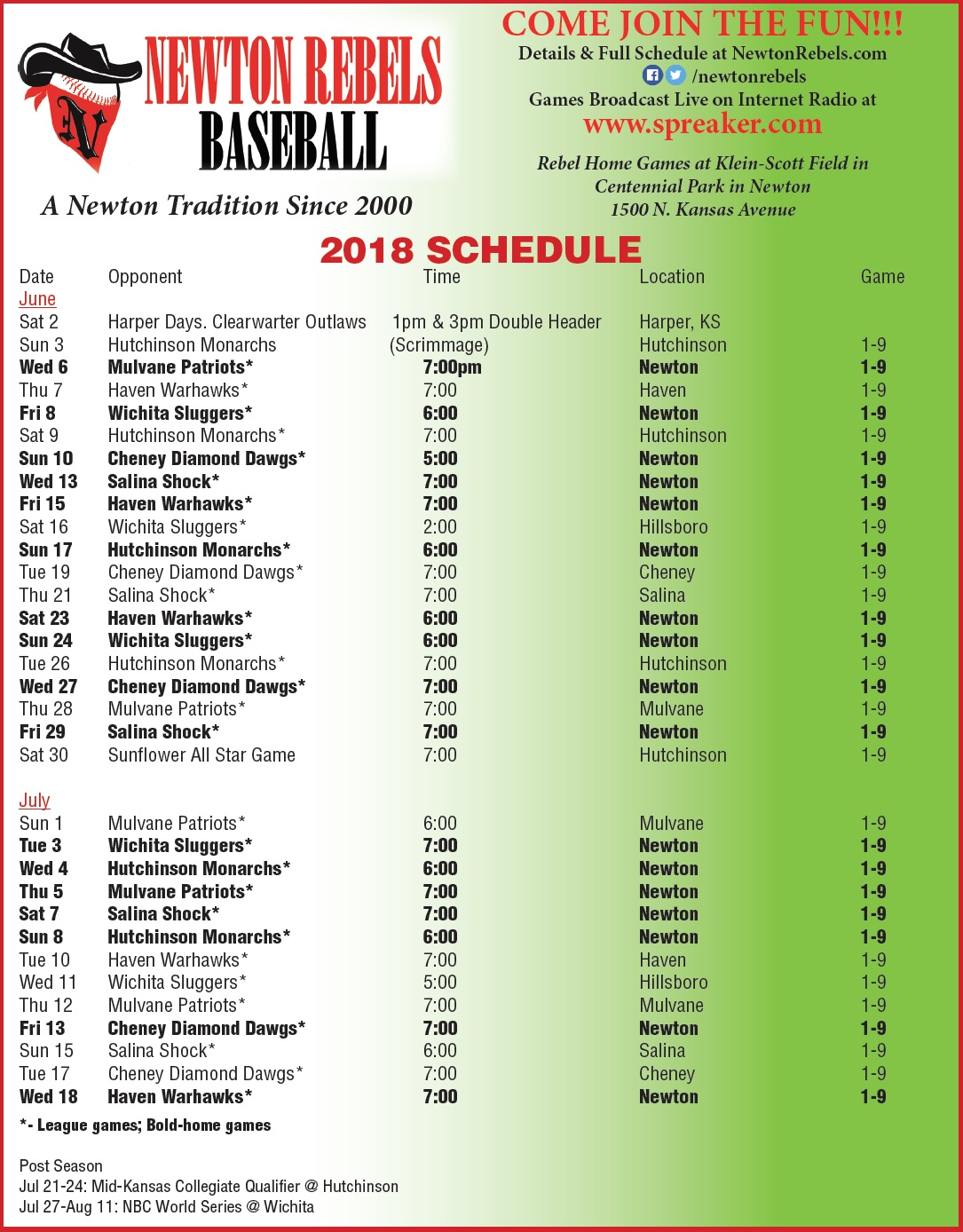Schedule picture Rebels 2018
